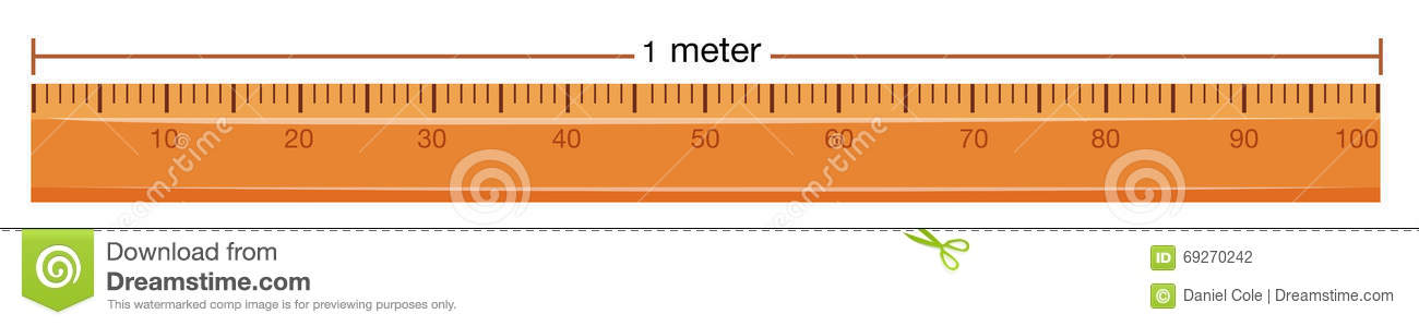 Wooden Ruler With Measurement In Meter Stock Vector ...