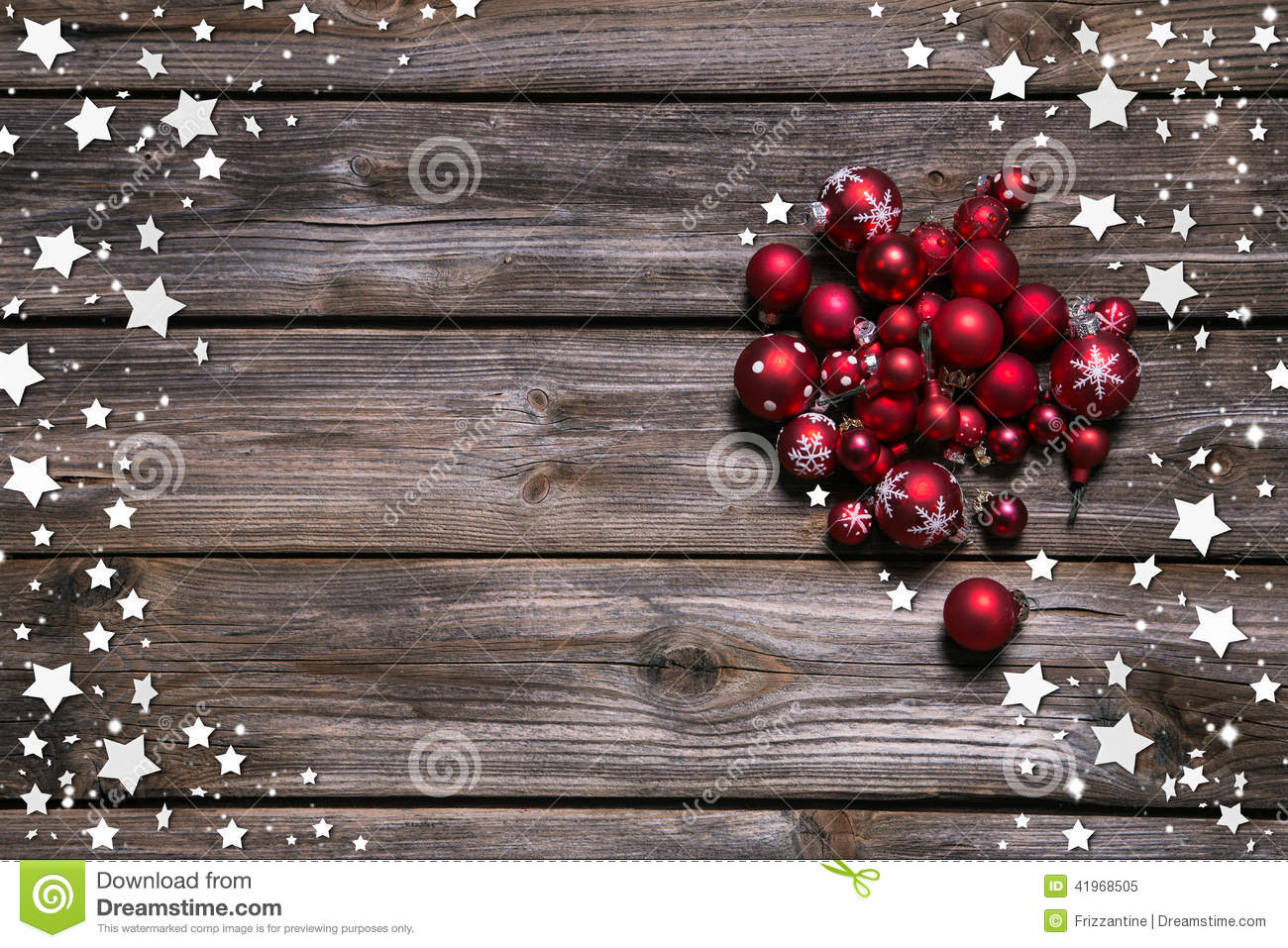 Download Wooden Rustic Christmas Background With Red Balls And As Frame Stock Image