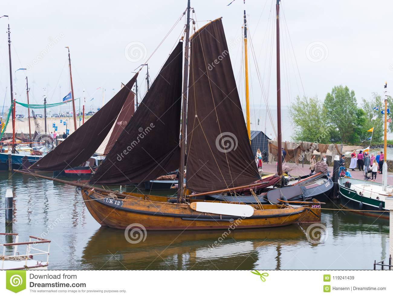Wooden sailboat in harbor editorial stock image  Image of boat