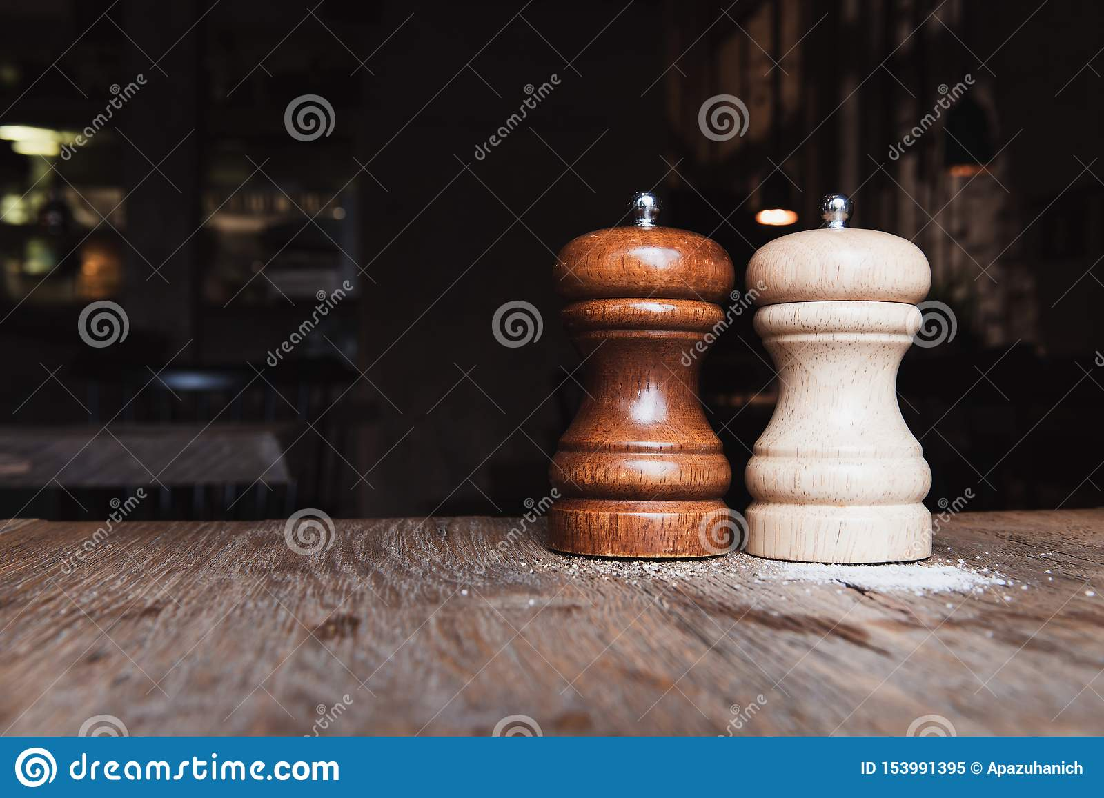 Wooden Salt And Pepper Mills On A Wooden Table Stock Image Image Of Shaker Spices 153991395
