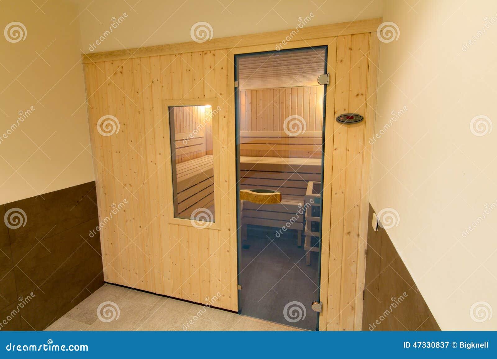 Wooden Sauna With Glass Door Stock Image - Image of shower, sauna ...