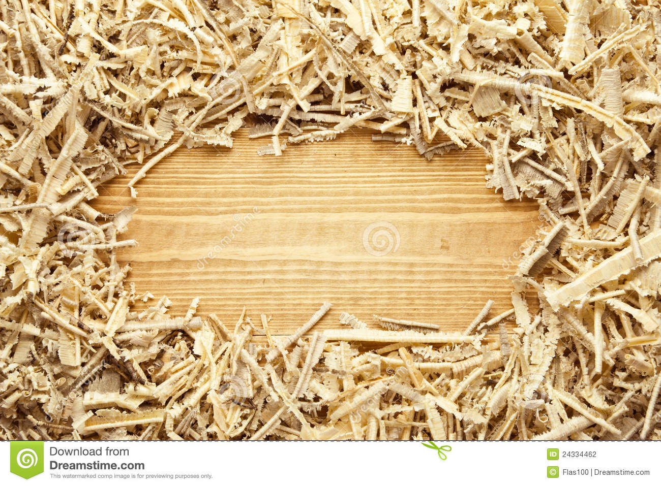 Working In Sawdust ~ Wooden sawdust and shavings background stock photo image