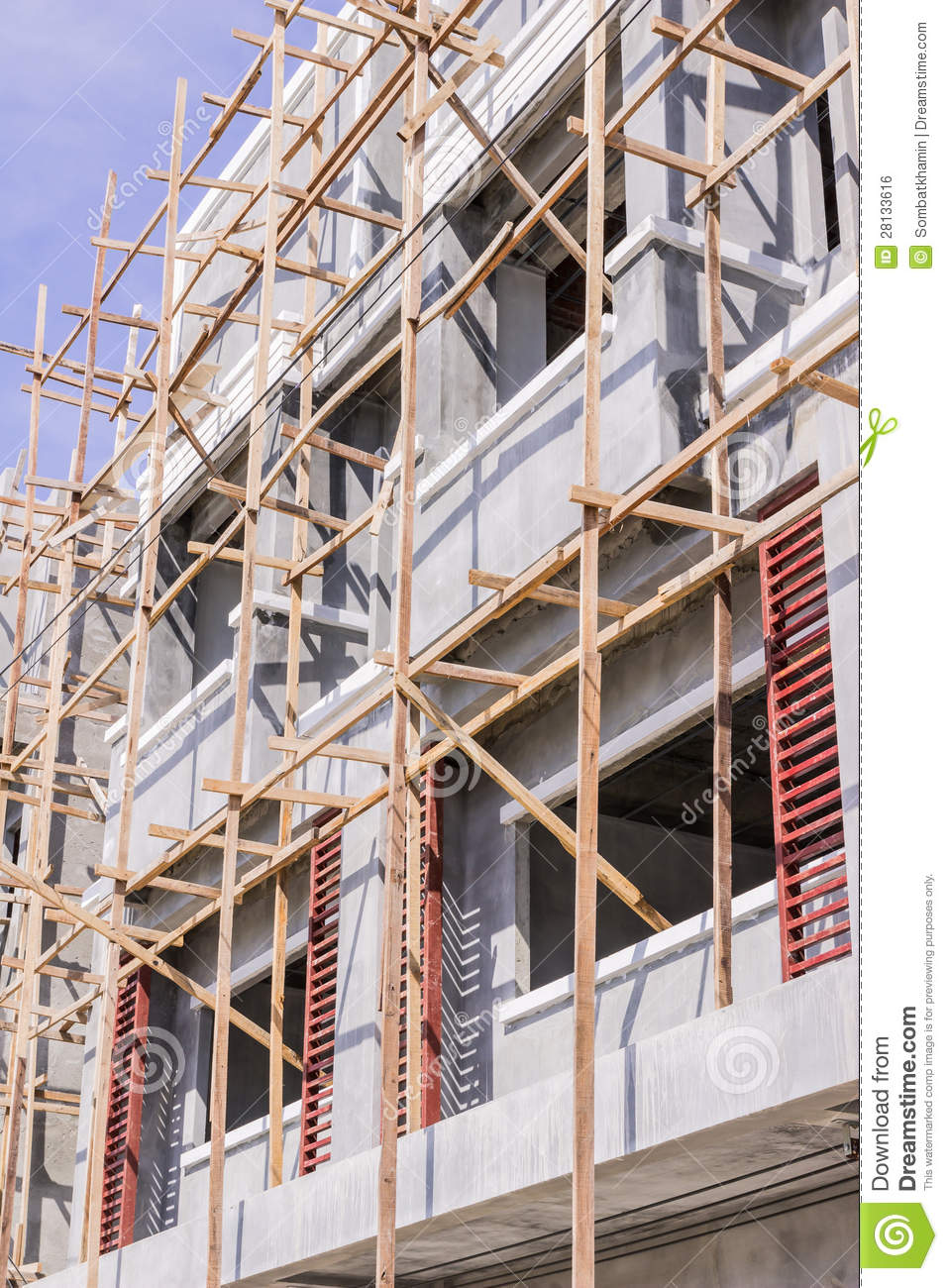 Wooden Scaffolding For Construction Site Royalty Free