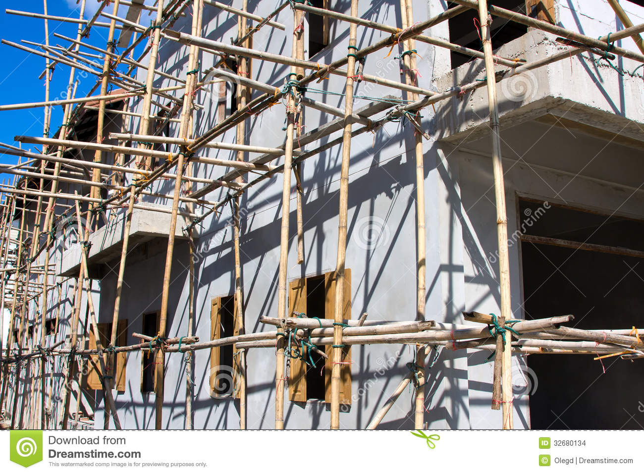 Wooden Scaffolding Thailand Stock Images Image 32680134