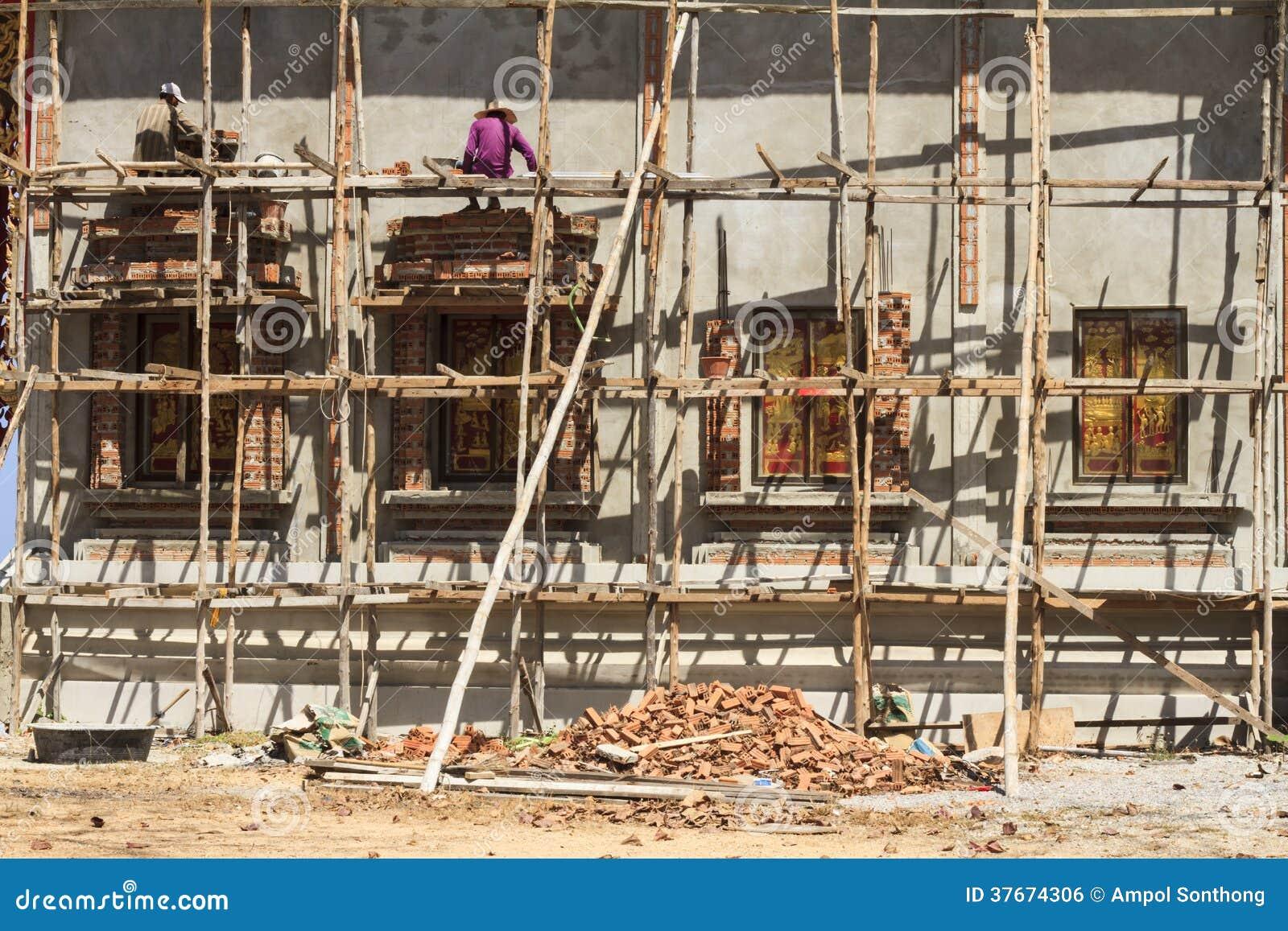 Wooden Scaffolding Three Floor Royalty Free Stock Image