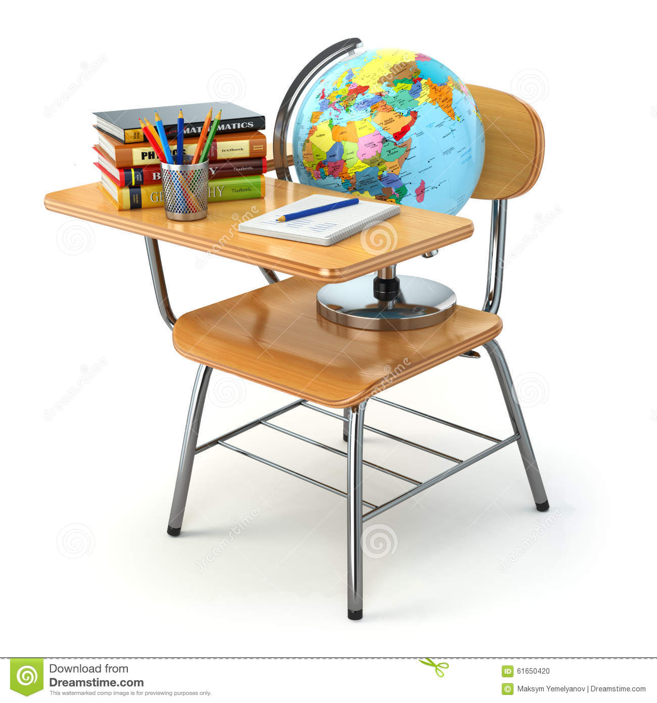 Wooden school desk and chair with books pencils and globe for Wooden white desk chair
