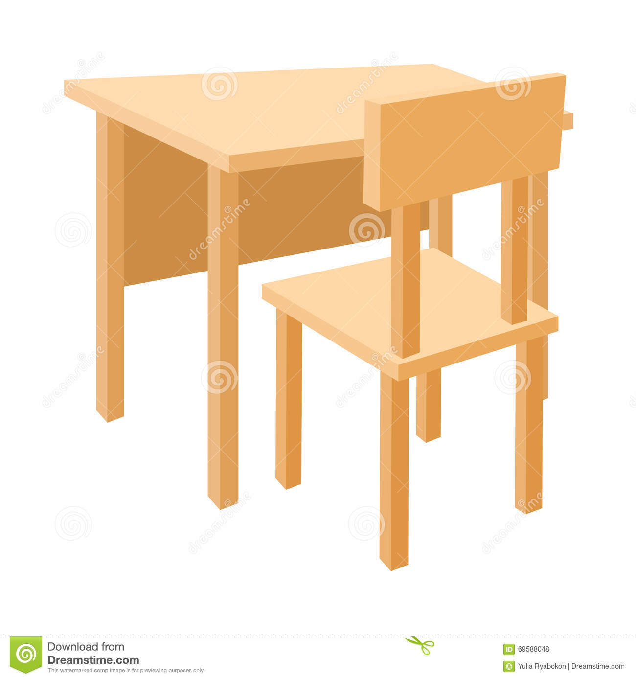 Royalty Free Vector. Download Wooden School Desk And Chair ...