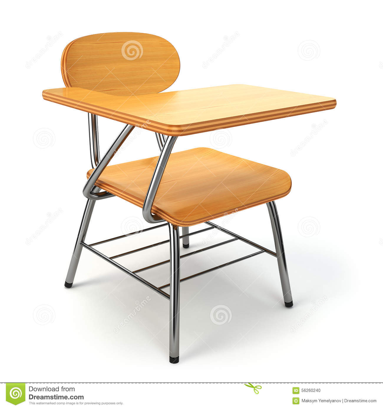 Wooden school desk and chair on white stock illustration for Wooden white desk chair