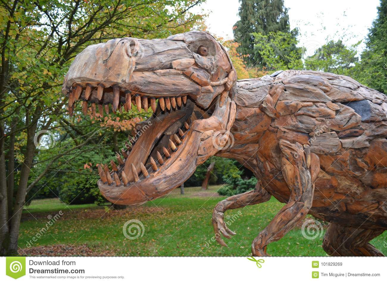 Wooden Sculpture Dinosaur