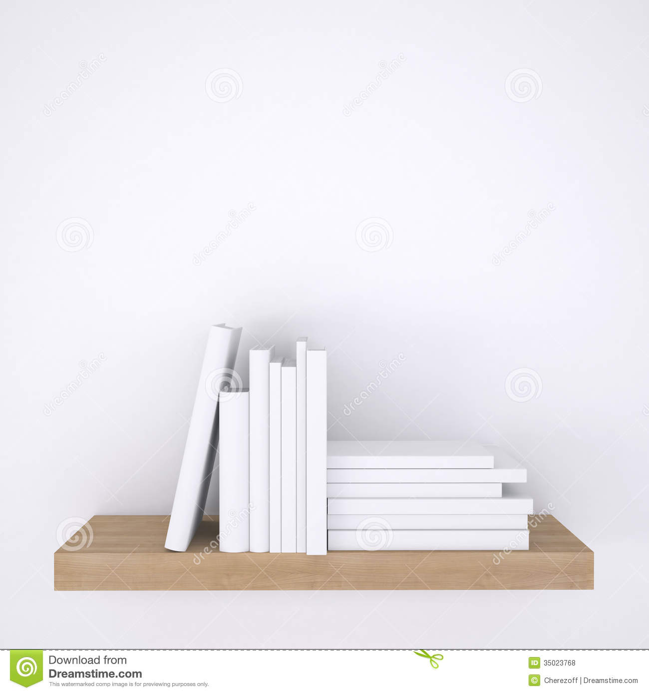Wooden Shelf With Books On White Wall Background Royalty ...