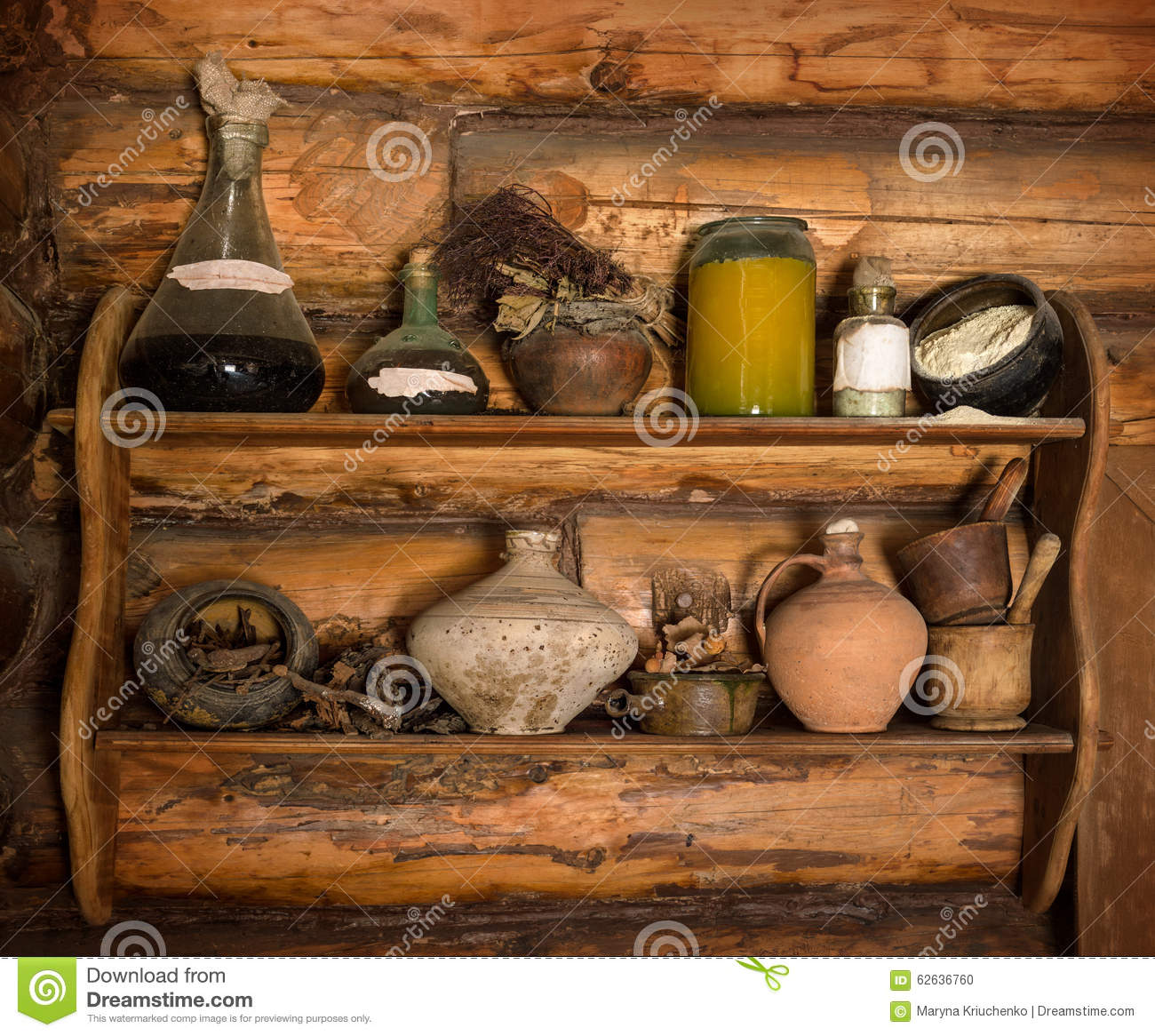Wooden Shelf With Old Scrap Stock Photo Image 62636760