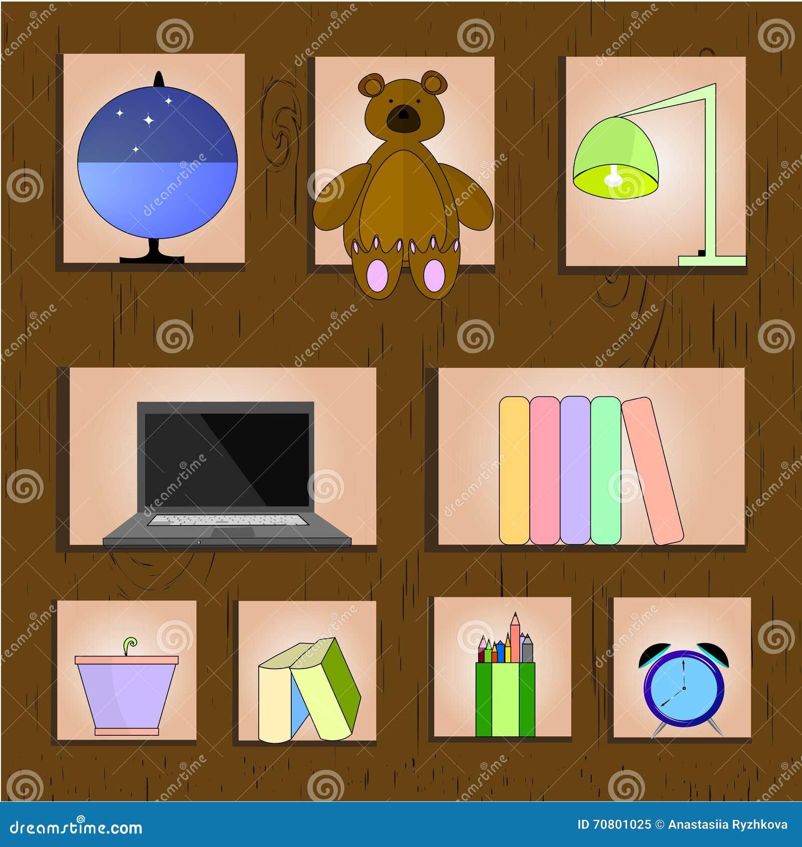Wooden Shelf Vector Illustration Home Related Stuff On Background
