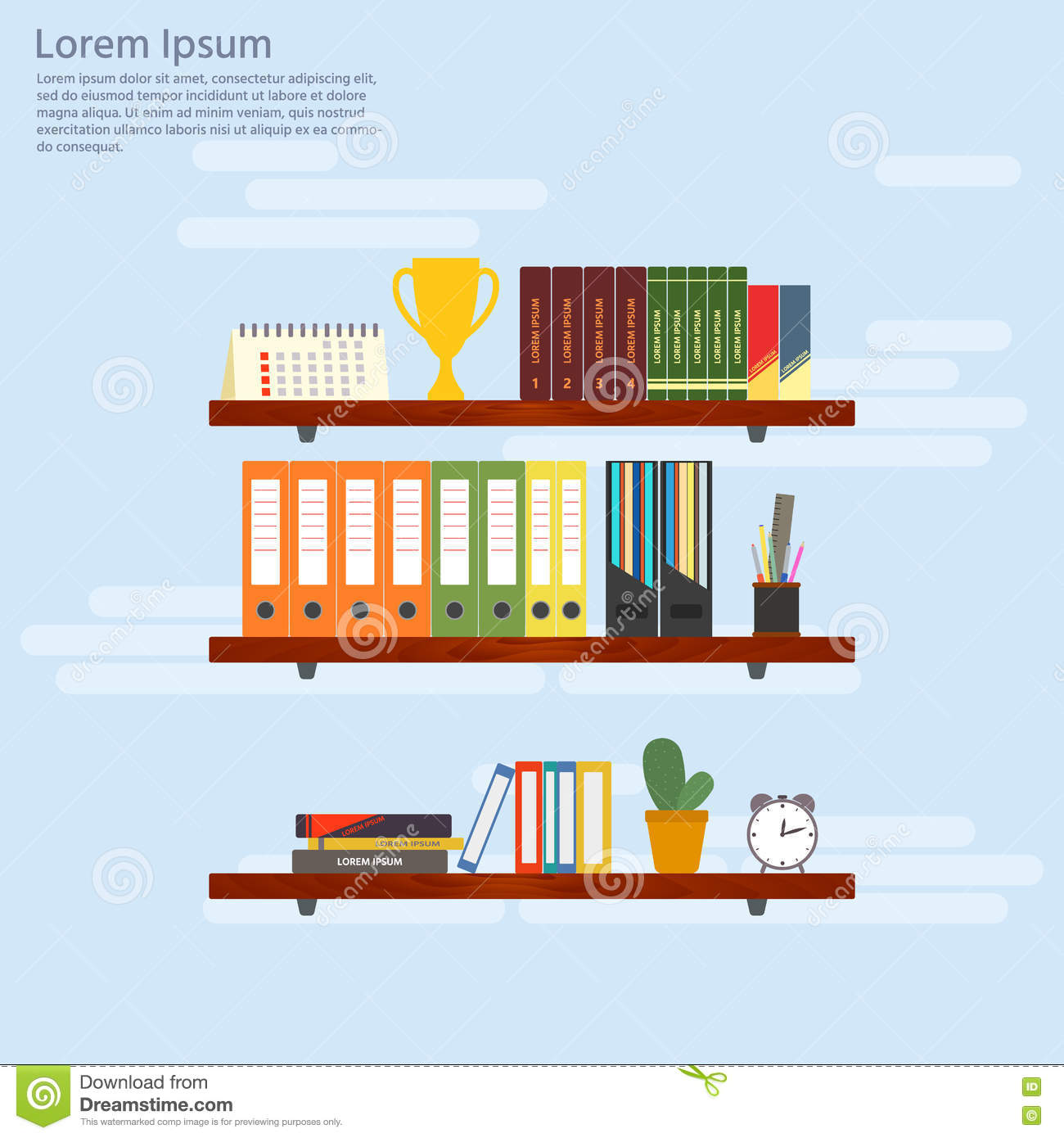 Interior wooden shelves free vector - Wooden Shelves With Books And Folders Office Interior In Flat D Stock Vector