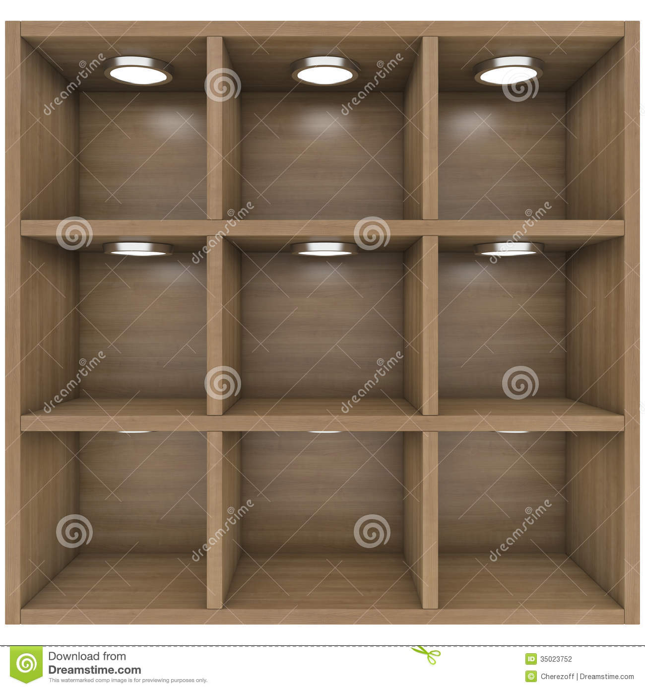 Amazing photo of Wooden shelves with built in lights. Isolated render on a white  with #83A328 color and 1300x1390 pixels