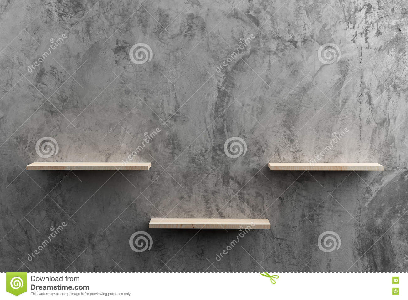 Wooden Shelves On Raw Cement Wall Stock Photo - Image: 73947385