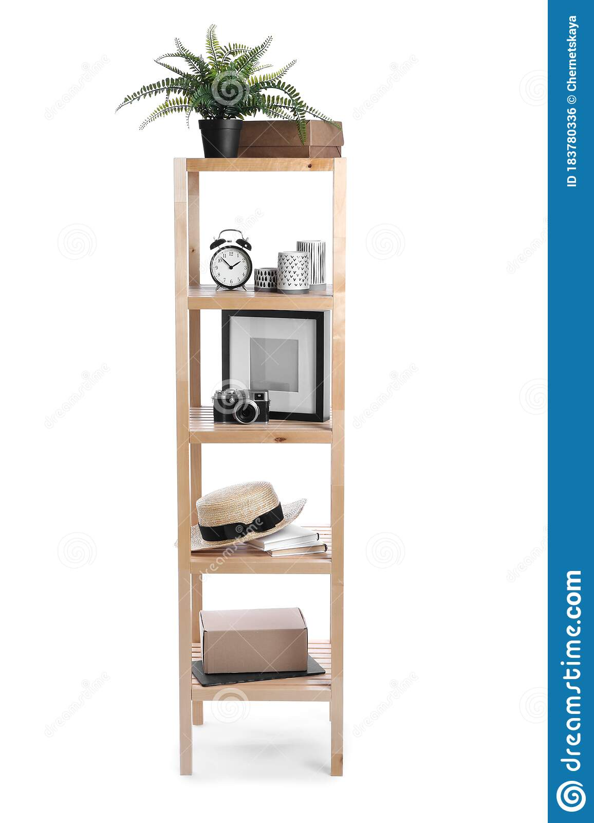 Wooden Shelving Unit With Different Items Isolated Stock Photo Image Of Office Element 183780336
