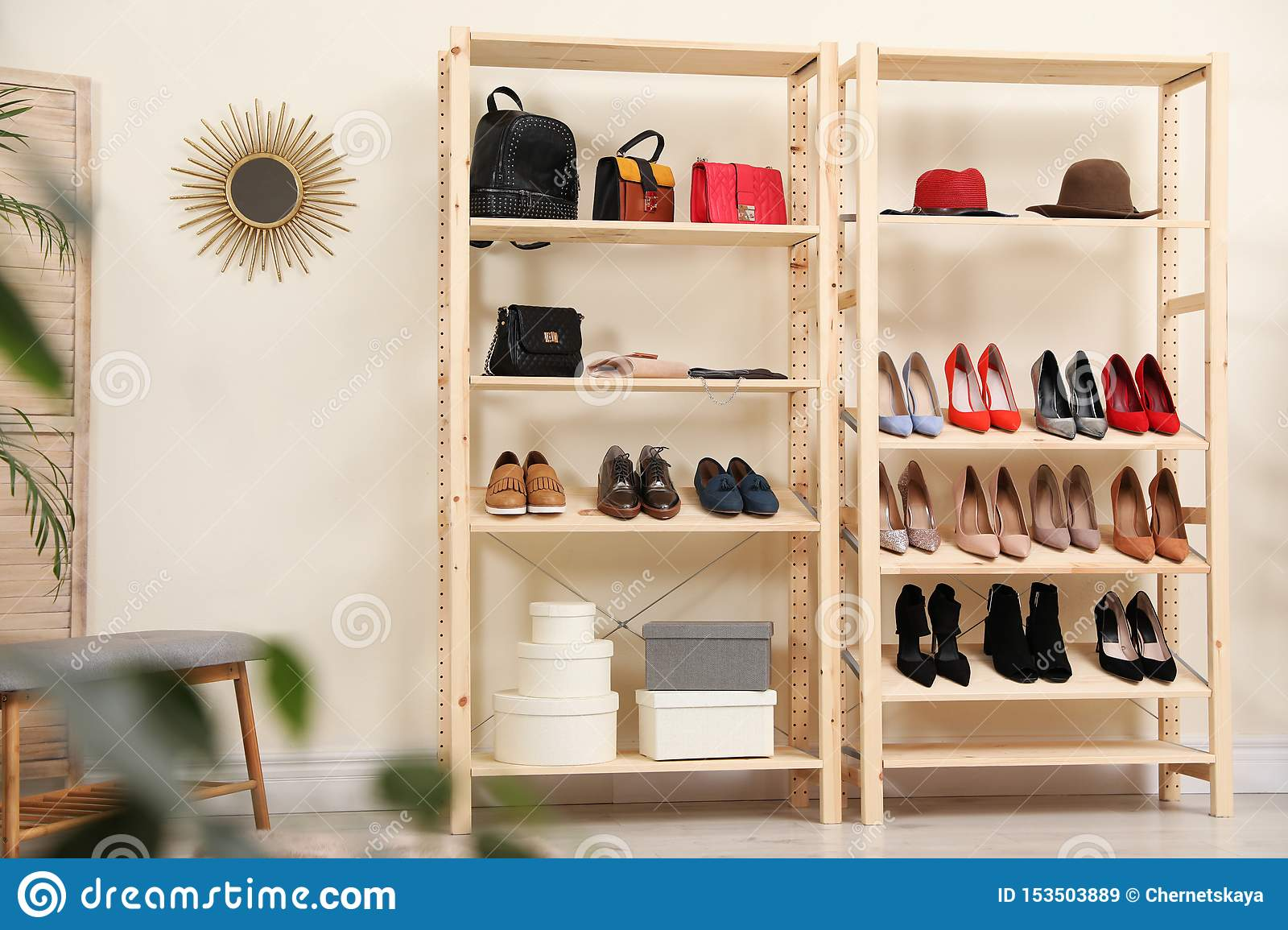 Wooden Shelving Unit With Different Shoes And Accessories In Stylish Room Stock Image Image Of Appartment Background 153503889