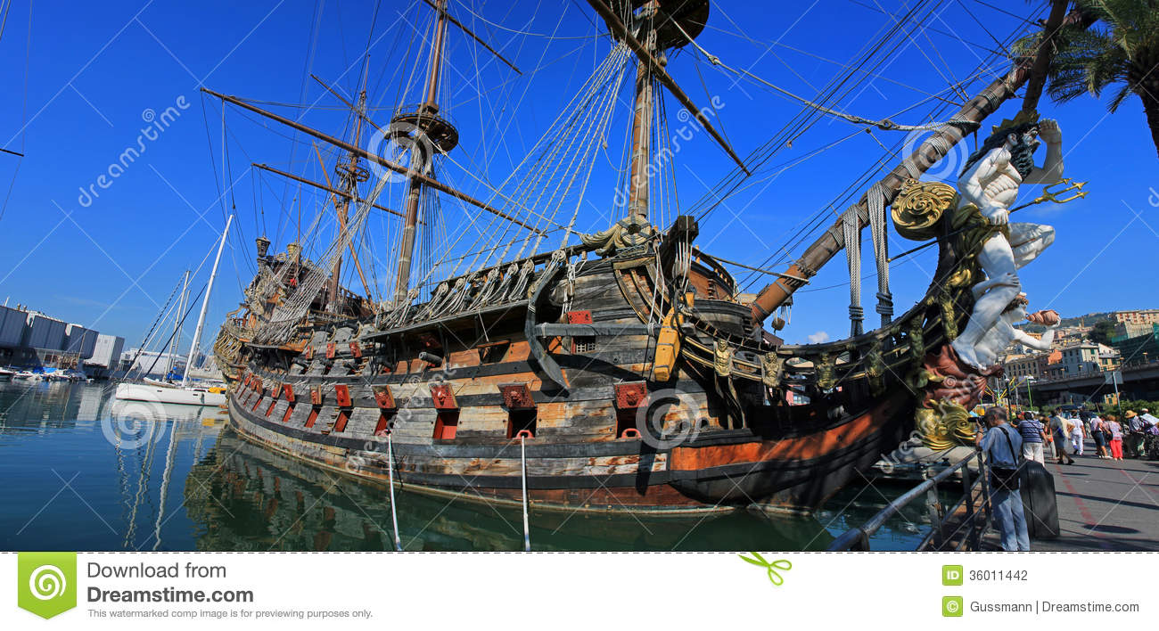 Wooden Ship In Port Of Genova Editorial Photography ...