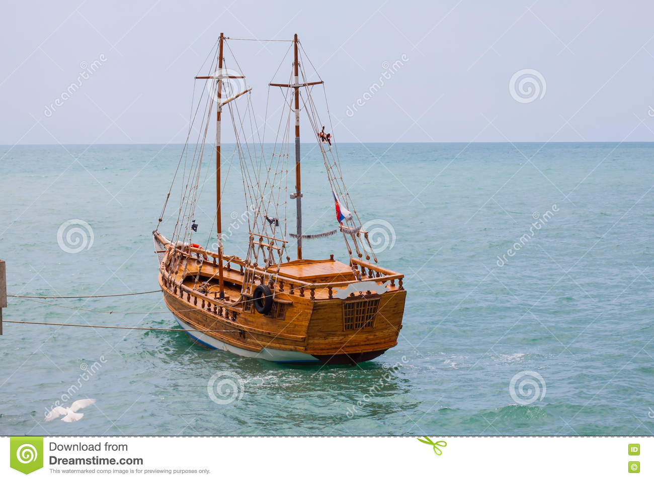 Wooden Ship On The Sea Background