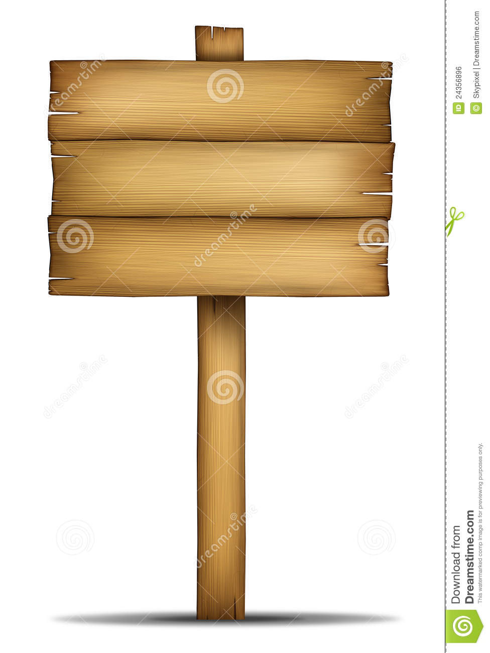 Wooden sign board with pole stock illustration