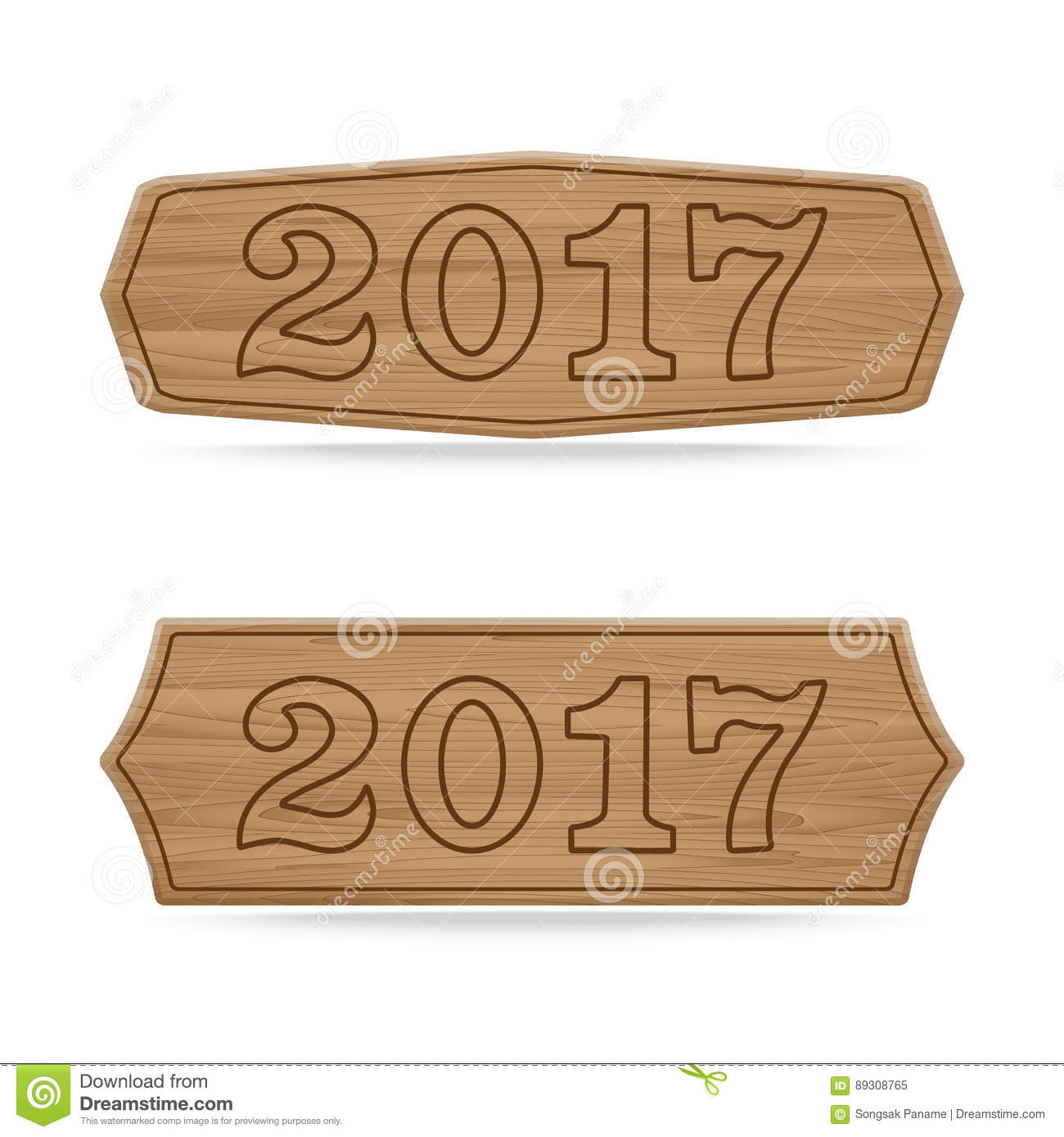 wooden sign boards concept of new year of 2017
