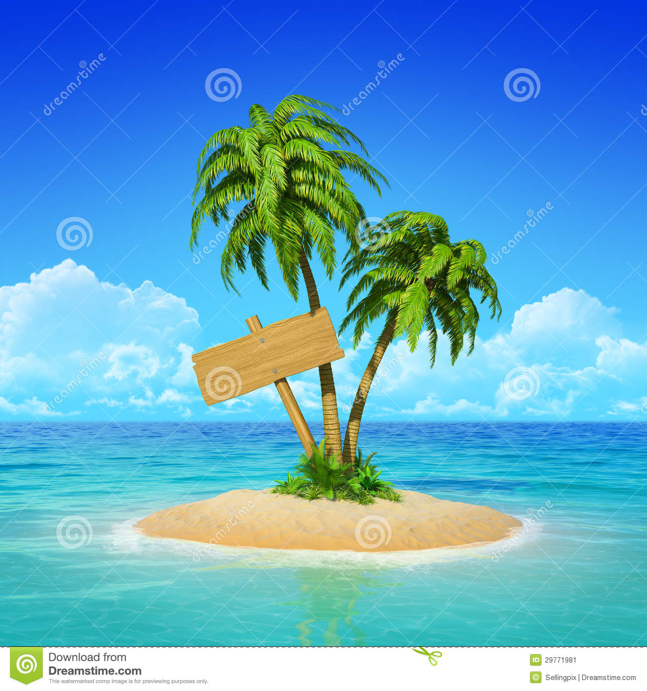 Palm Tree Island: Wooden Signpost On Tropical Island With Palms. Stock Image