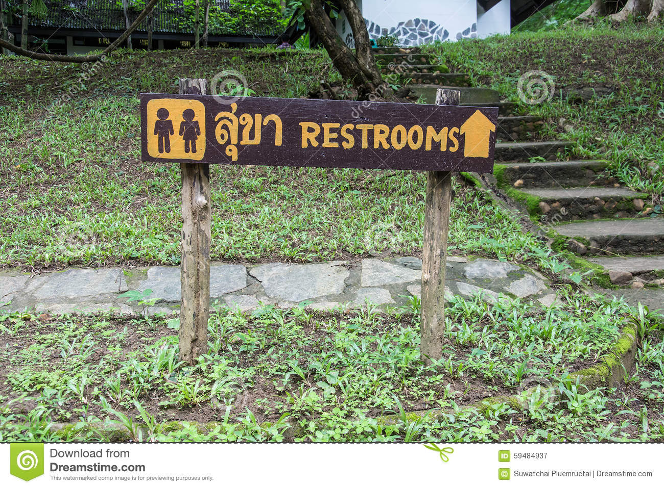 Wooden Sign Entrance To The Toilet In Thai And English ...