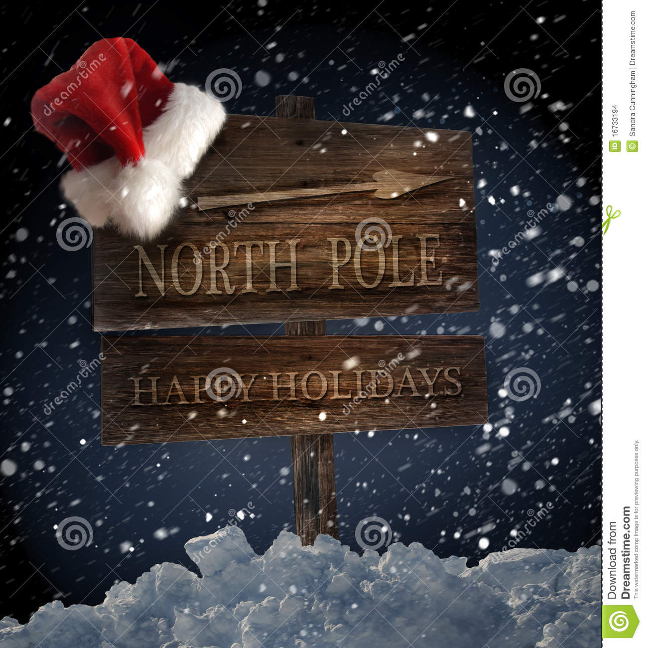 Wooden sign with Santa hat