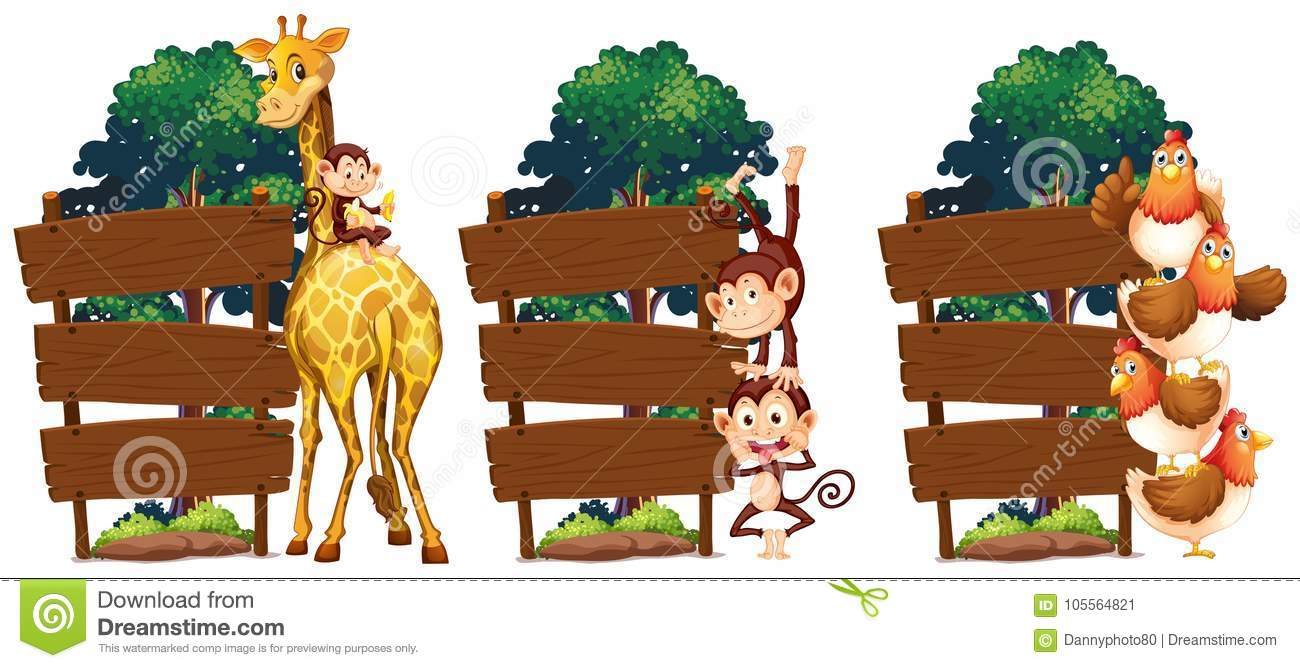 wooden sign template with giraffe and monkey stock vector