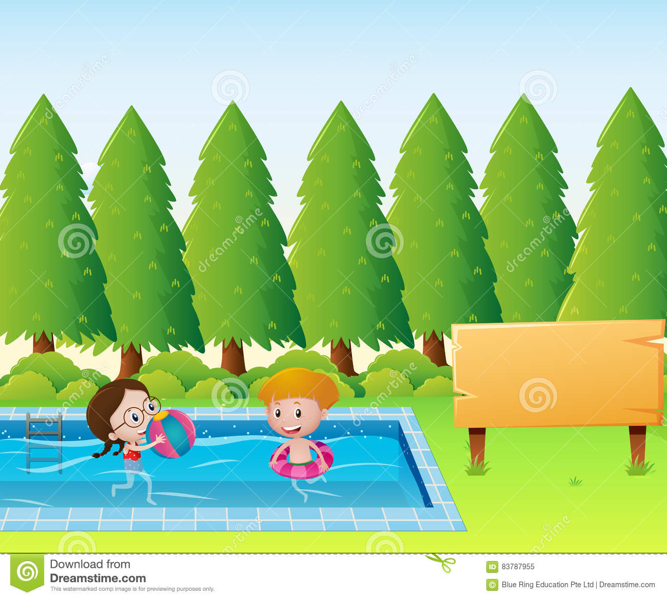 wooden sign template with kids in the pool stock vector