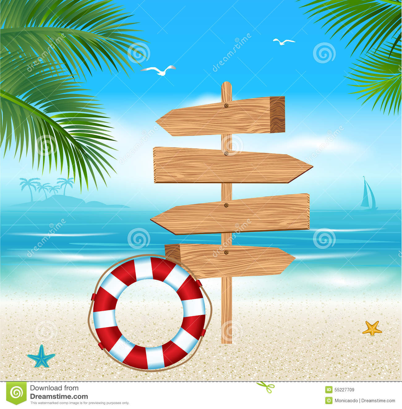 Wooden Sign On A Tropical Beach Stock Vector - Image: 55227709