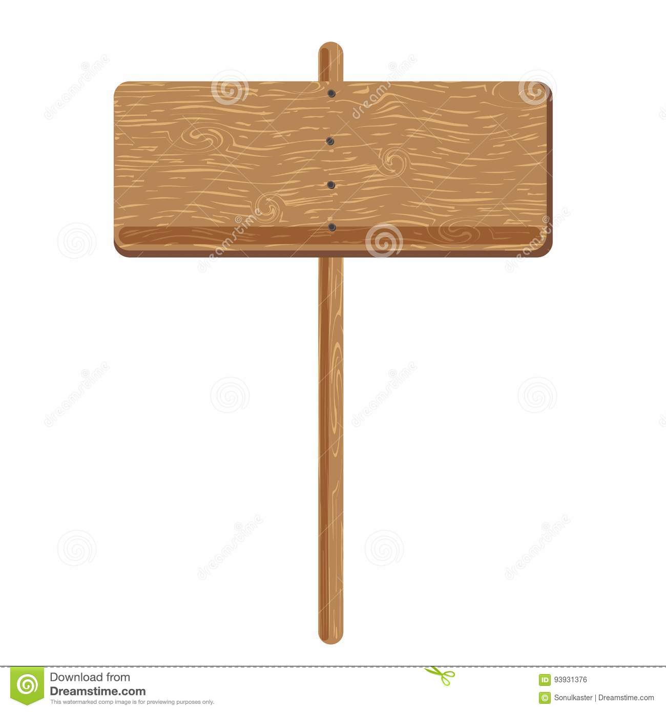 Wooden signage bord or advertising sign pole vector icon