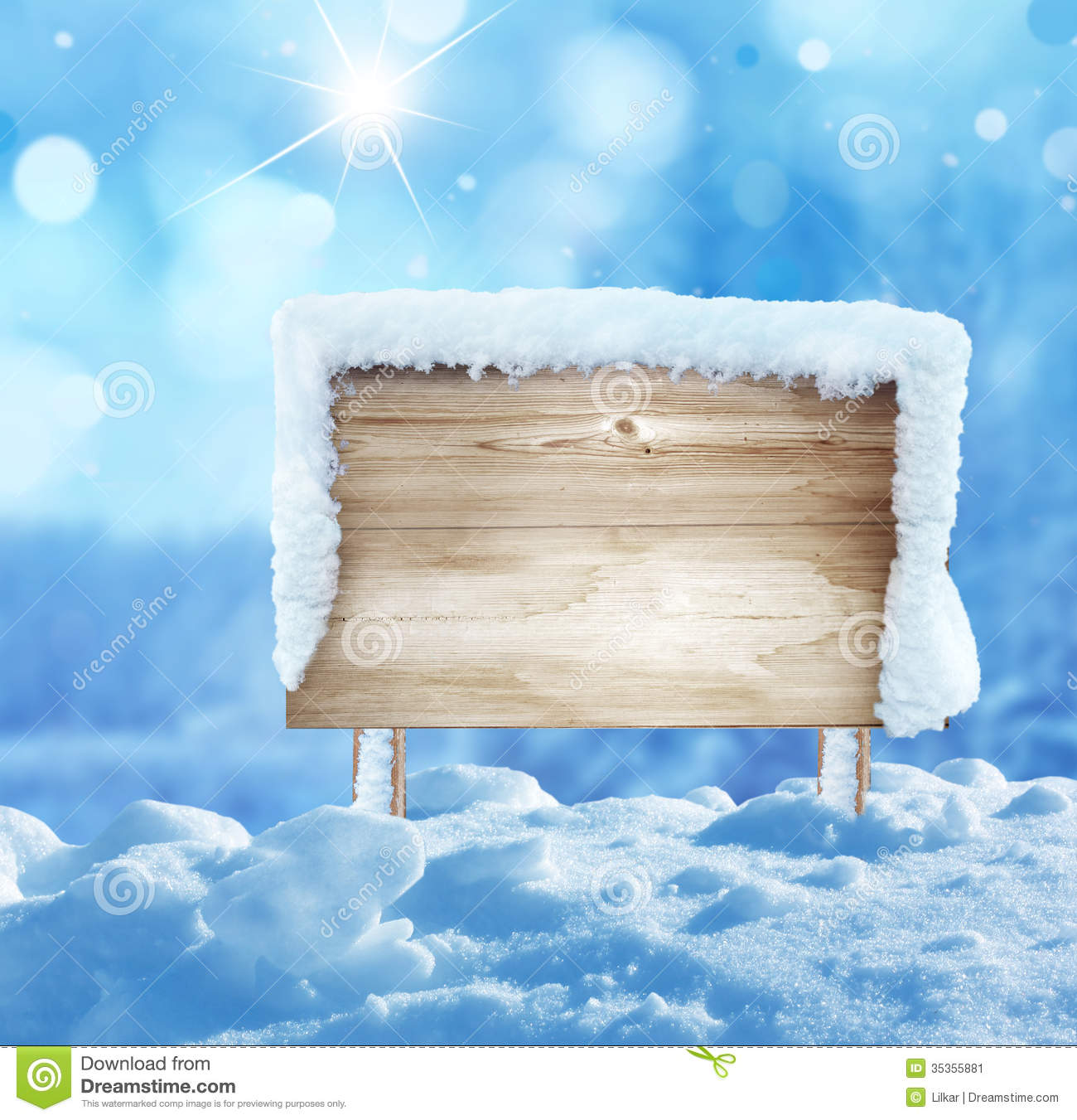 Wooden Signboard In Snow Stock Image Image 35355881
