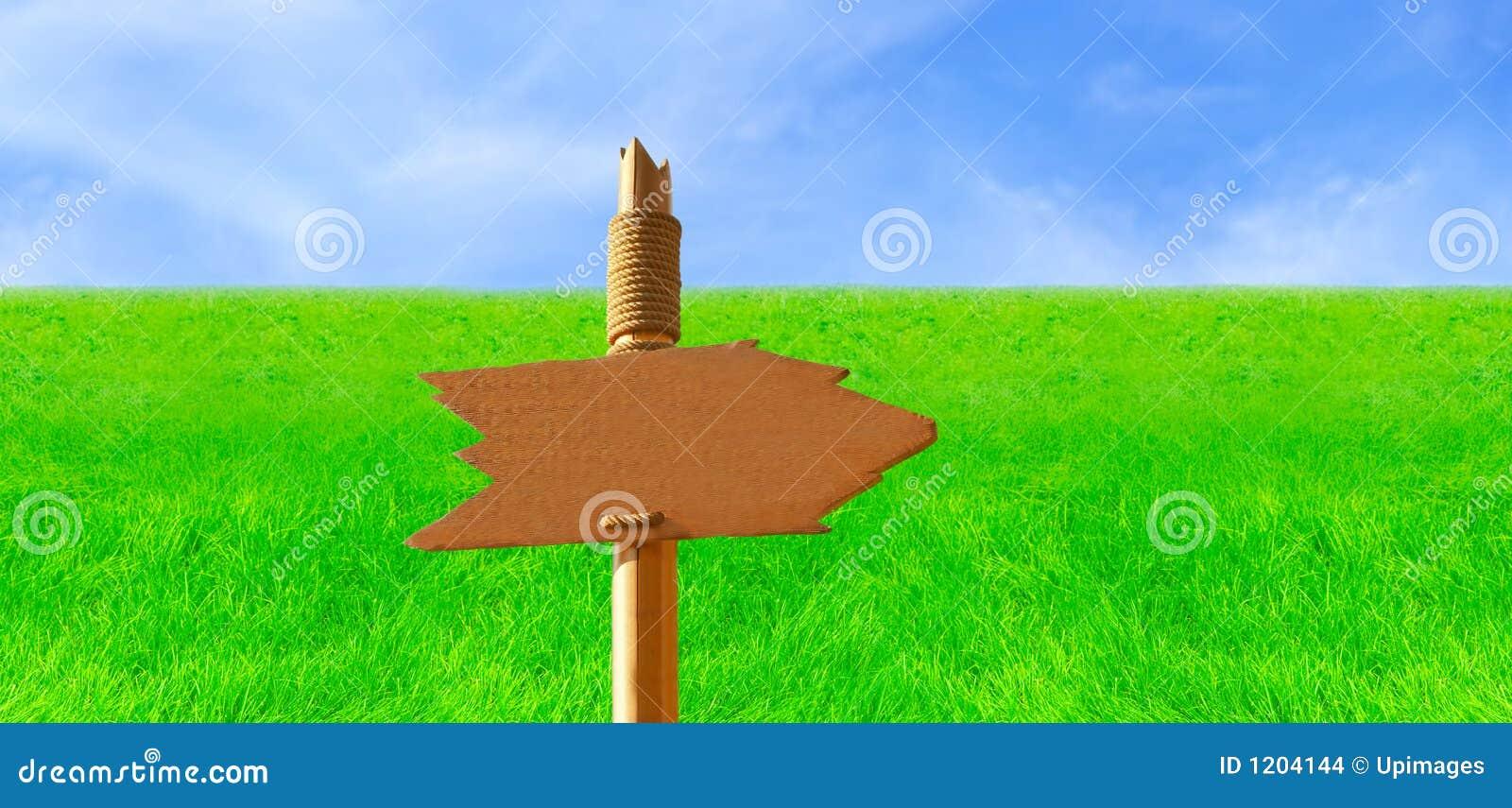 Wooden Signpost in Green Field