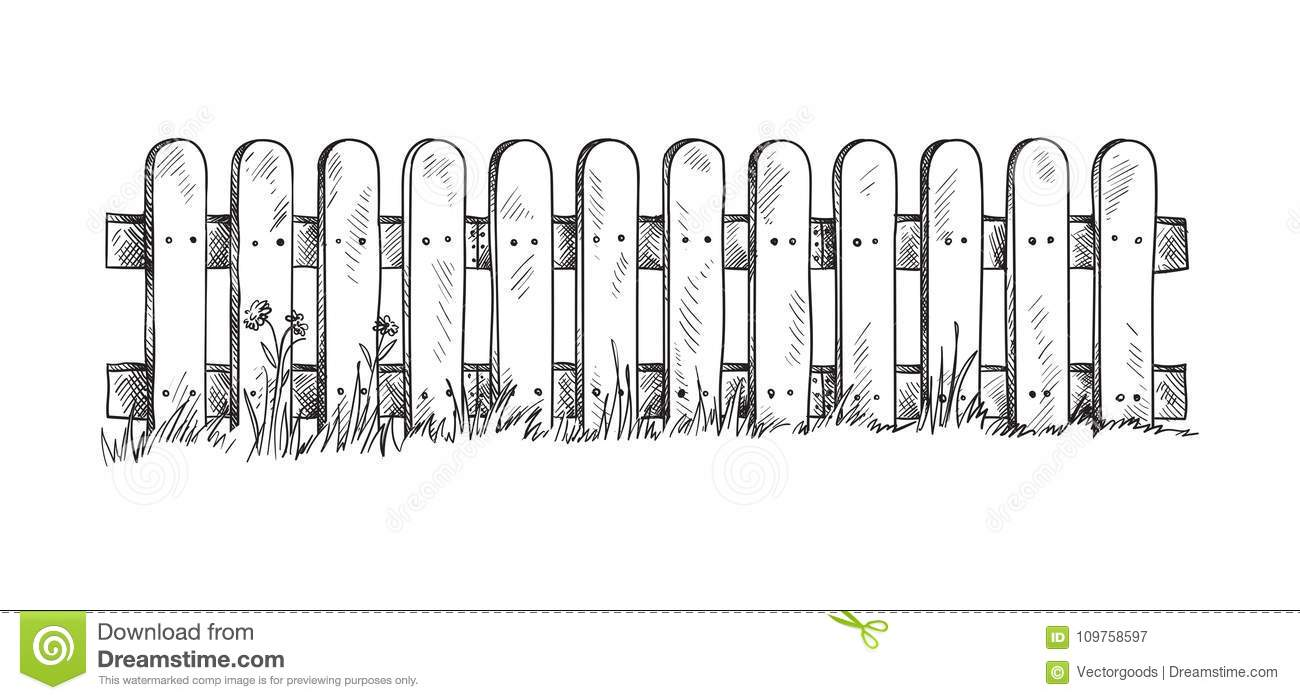 It's just a graphic of Old Fashioned Picket Fence Drawing