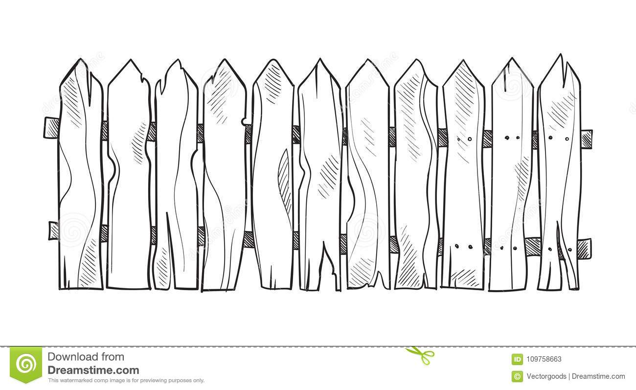 Wooden Sketch Fence Stock Vector Illustration Of Object