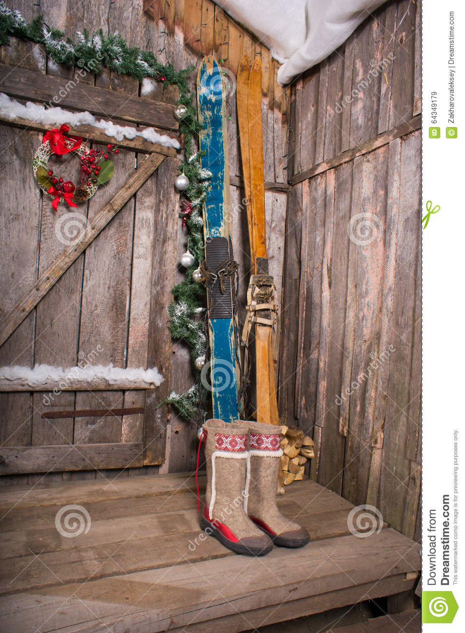 Wooden Skis Standing Near The Porch Stock Image Image Of Heart