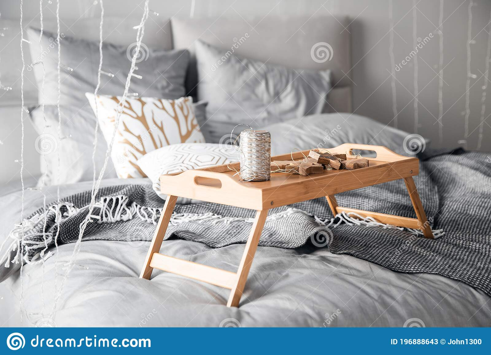 Wooden Small Breakfast Table Stands On Bed In Bedroom Gray Sheets Sun Shines Through Window Sunrise Stock Image Image Of Eating Dawn 196888643