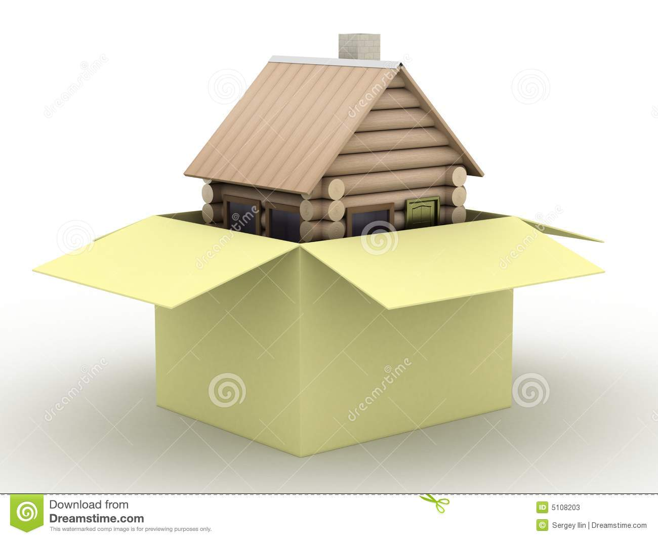 Wooden Small House In A Box Stock Illustration Image