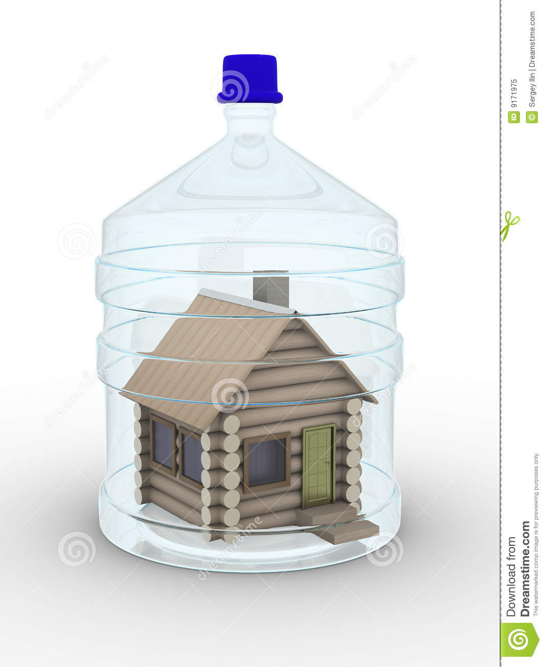 Wooden small house in a glass bottle stock illustration for Small glass homes