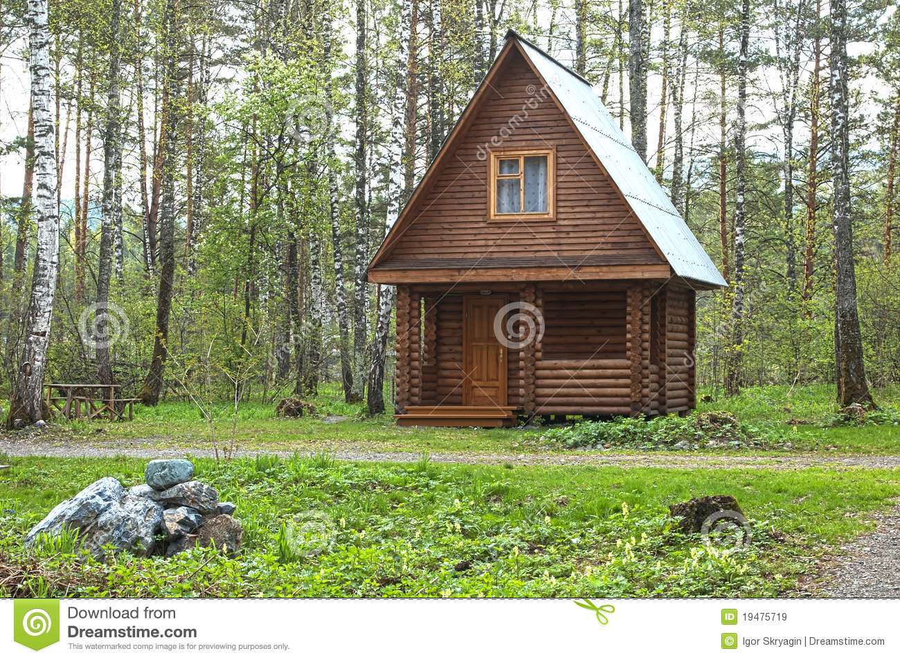 Wooden small house in a wood stock image image of for Small house design made of wood
