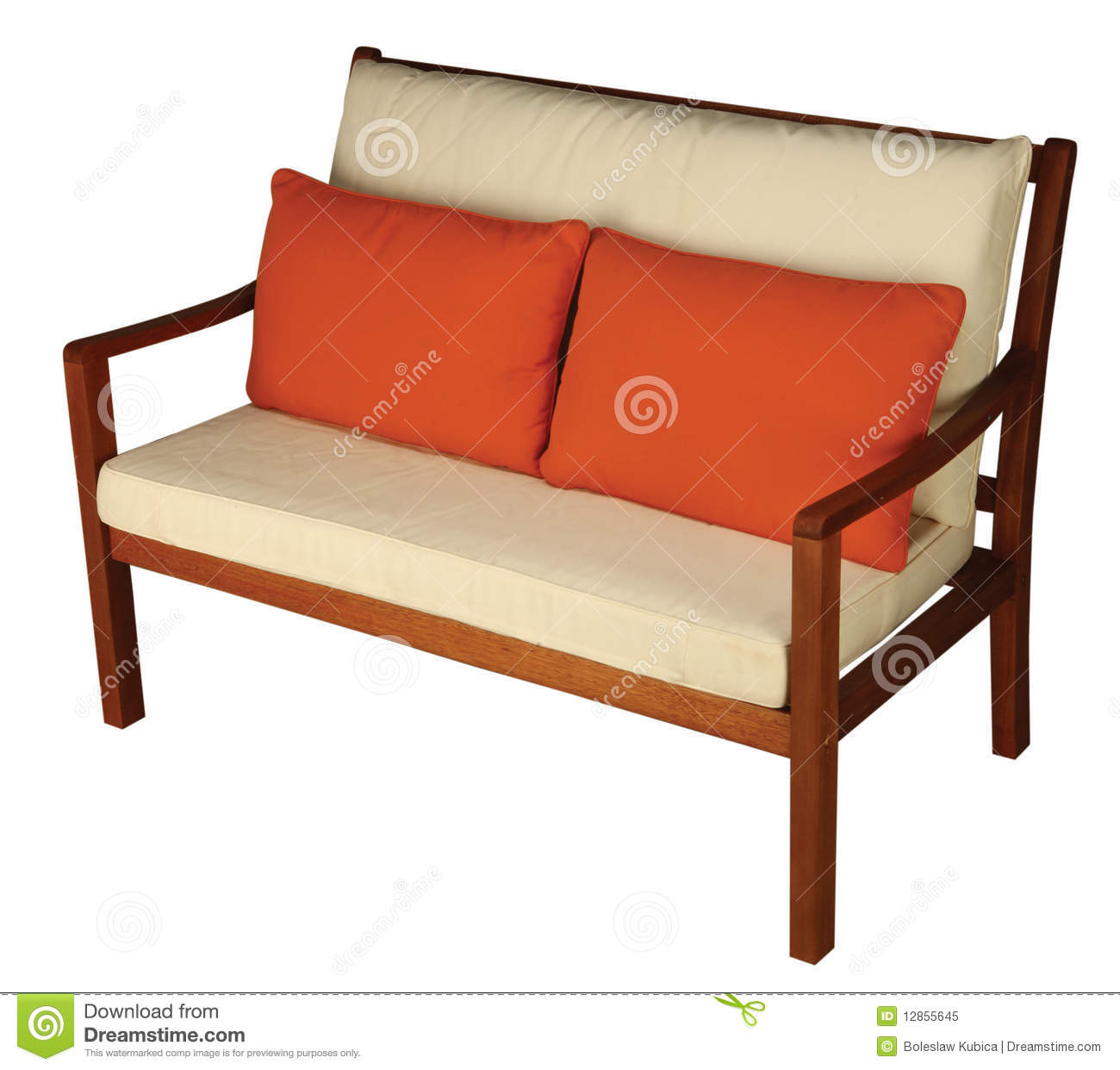 Wooden Sofa With Cushion Royalty Free Stock Photo - Image: 12855645