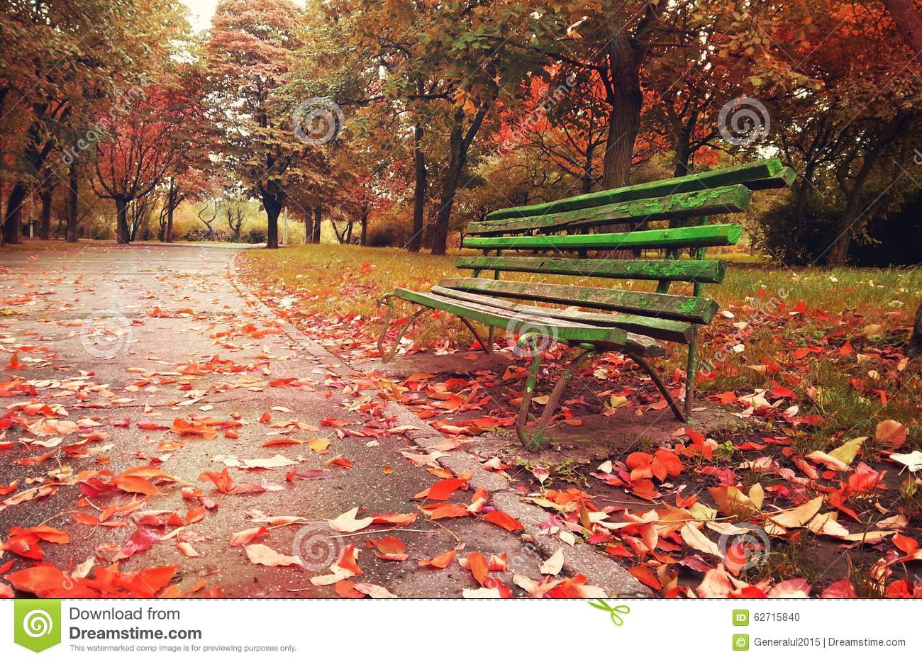 Wooden Sofa In A Fantasy Autumn Season Stock Photo Image