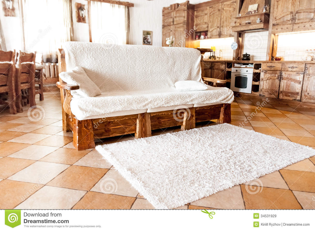 Wooden Sofa Standing In Living Room In Country Style Royalty Free Stock Image