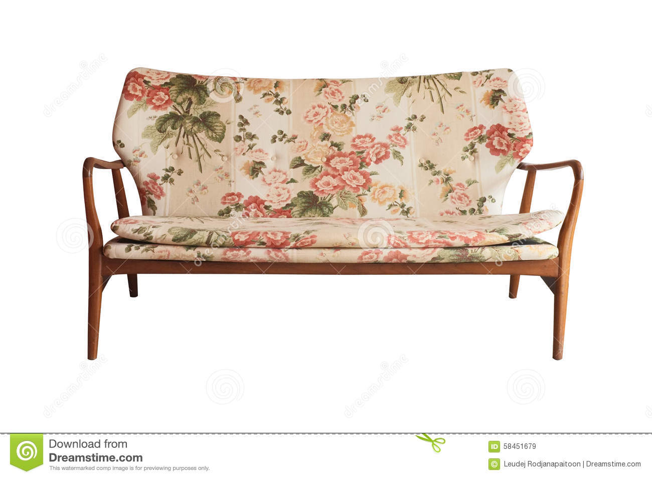 Wooden Sofa Upholstered In Floral Fabric Printed Vintage