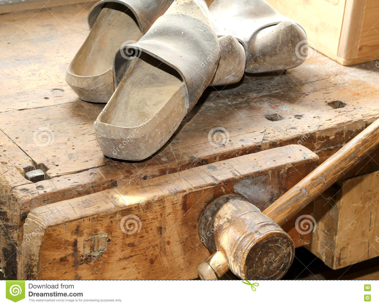 Wooden Soled Type Dutch Clogs Stock Image Image Of Shoemakers