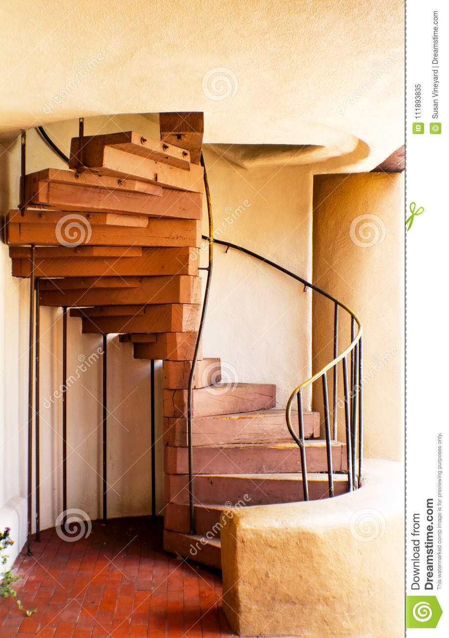 Download Wooden Spiral Staircase In Adobe Building Stock Image   Image Of  Circular, Metal: