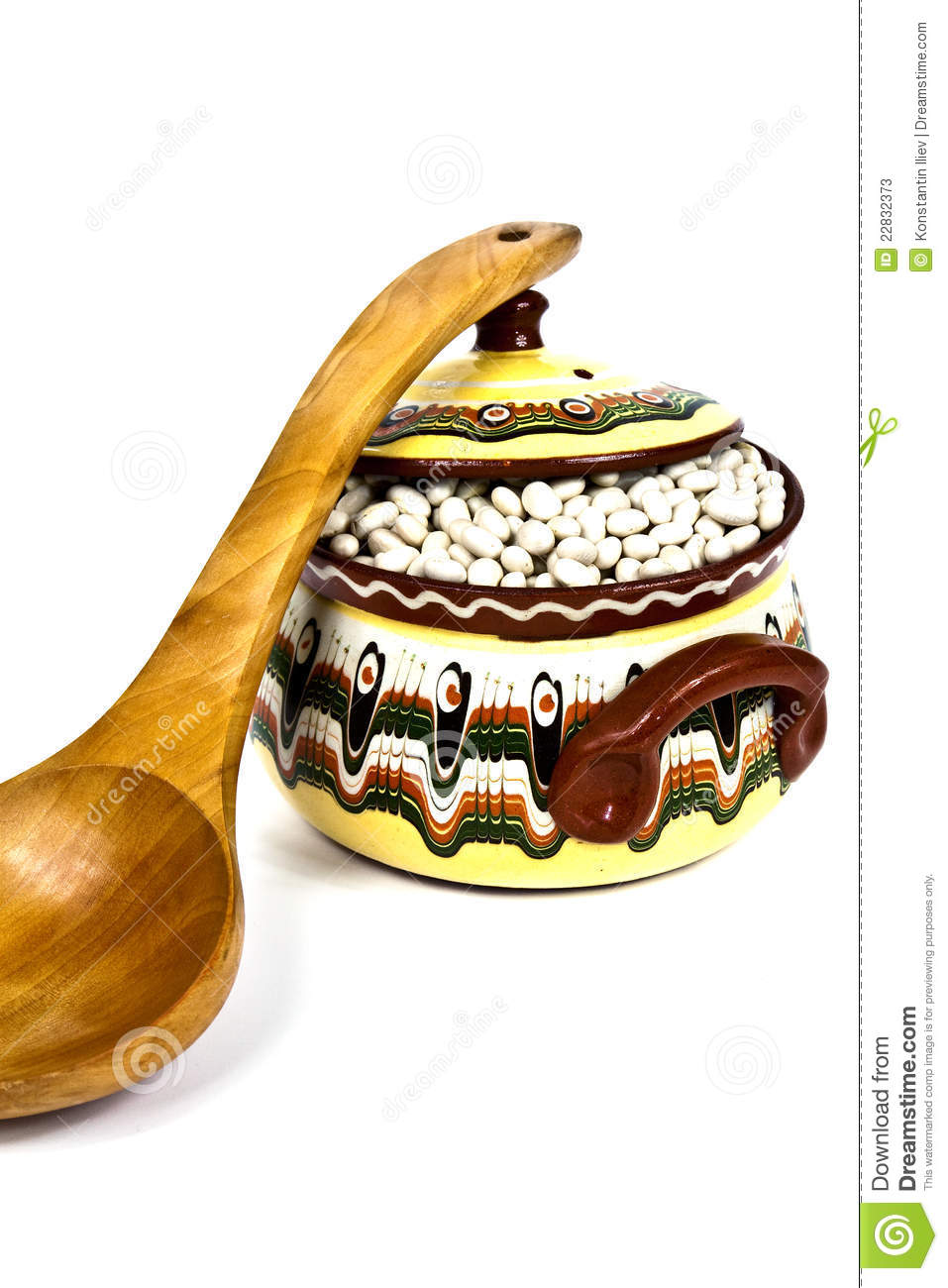 Colorful Spoons: Wooden Spoon And Colorful Ceramic Pot Stock Photos