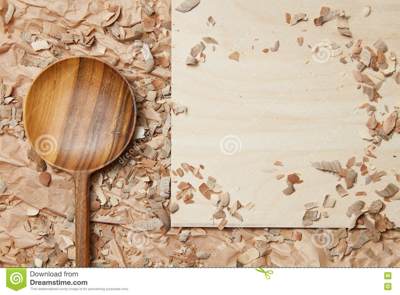 Wooden spoon on parchment