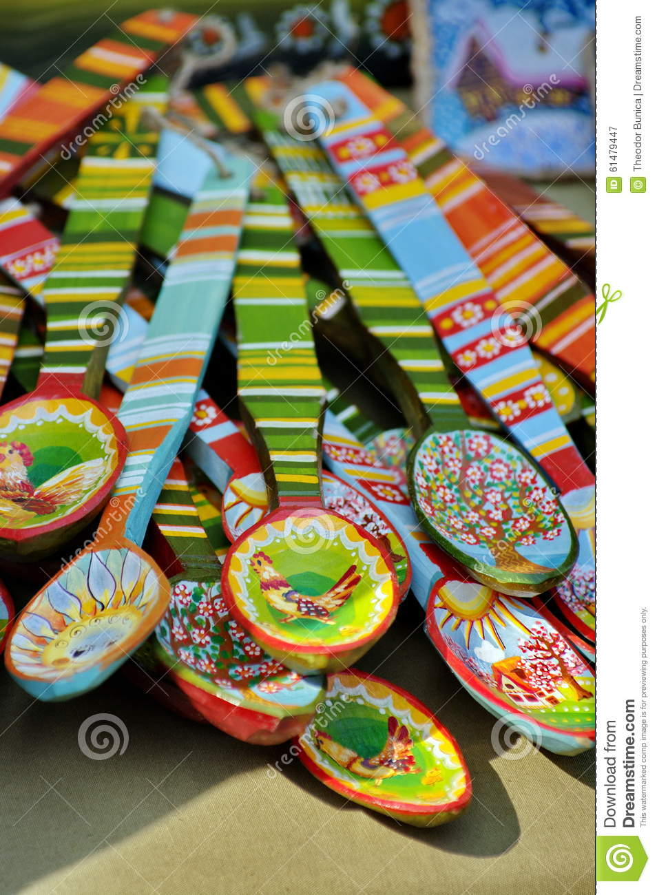 Colorful Spoons: Handmade. Traditional Painted Colored Wooden Spoons